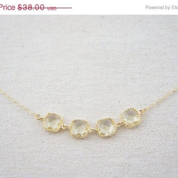 10% OFF Jonquil color gem gold necklace, wedding, gift, birthday, valentine's day