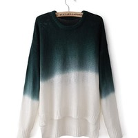 Green Gradient Color Round Neck Long-Sleeved Sweater