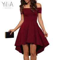 Yilia 2017 Spring Summer Solid Asymmetrical Skater Dress New Off Shoulder Party Dress XXL Sexy Style Red Black Royal Blue Purple