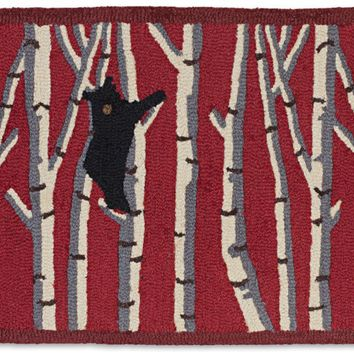 Bear In Birches On Red Hooked Wool Rug 2'L X 4'W