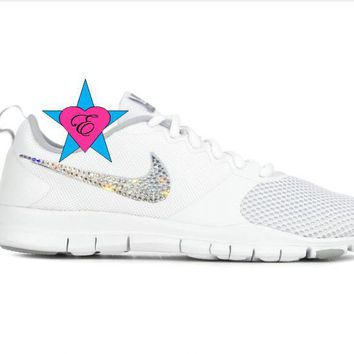 Bling out Nikes Bedazzled White Women s Nike Flex Essential 39e7c2c28