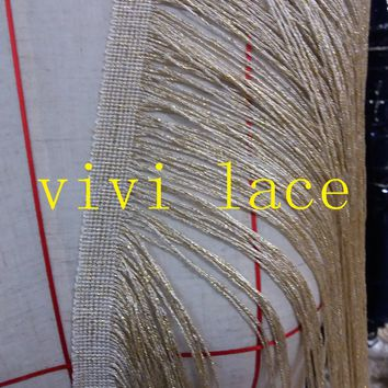 FF001 light gold fringe tassel 55cm width fashion  for stage show /wedding/evening dress/party,any color can make/custom