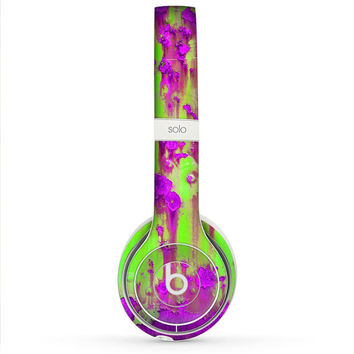The Lime Green Metal with Hot Purple Rust Skin for the Beats by Dre Headphones (All Versions Available)