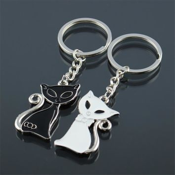 Creative Pendant Gift Fine Black And White Cat Couple Keychain Strange Small Commodities