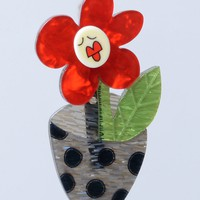 Erstwilder Sally Singing Solo Flower Resin Brooch Pin
