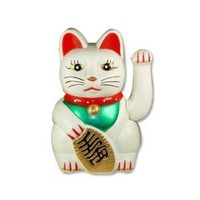 Maneki neko Lucky fortune Cat Waving Arm White