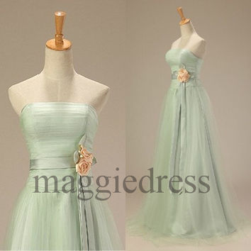 Custom Light Pea Green Tulle Long Prom Dresess Evening Dresees Party Dresses Wedding Party Dress Homecoming Dresses Bridesmaid Dresses