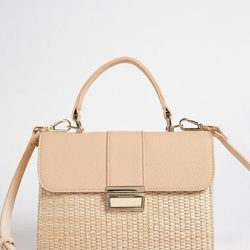 Straw & Faux Leather Handbag