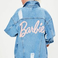 Missguided - Barbie x Missguided Blue Long Sleeve Printed Back Denim jacket