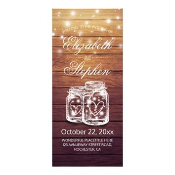 Rustic Wood Mason Jar String Light Wedding Program