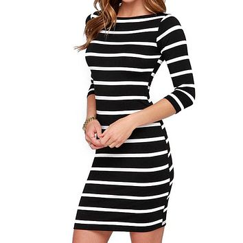 WJ Everyday Dresses 2016 Autumn Women Sexy Slimming Wrap Lady Fashion Clothing Casual Striped Bodycon Party Dress Vestidos