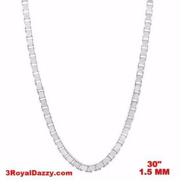 """Italy 14k white gold layered over Solid 925 sterling silver Box Chain- 1.5mm 30"""""""