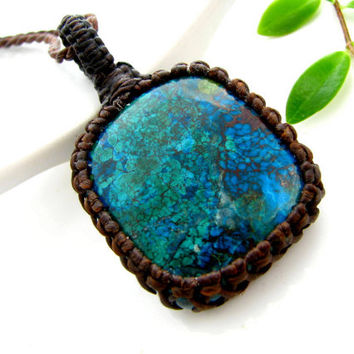Chrysocolla Necklace, Chrysocolla pendant, Azurite Malachite necklace, Bohemian Necklace, Earth from above, Globe jewelry, Wrapped stone