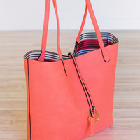 Claire Reversible Tote Set - Coral
