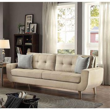 """""""Natalia"""" Mid-Century Modern """"MCM"""" Style Sofa Couch in Beige Upholstered Fabric"""
