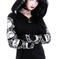 """LUNAR HOODIE"" Blouse with oversized hood and moon phases"