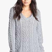 Leith Cable Knit V-Neck Sweater | Nordstrom