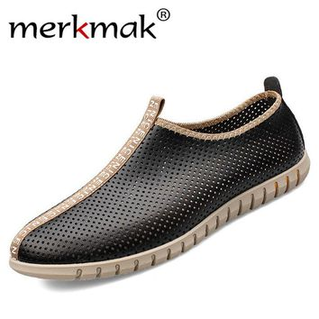 Merkmak New Summer Men Shoes 2015 Genuine Leather Breathable Casual Moccasins Men Loafers Shoes High Quality Men's Flats Shoes