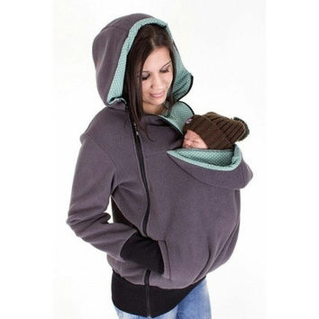 Baby Carrier Jacket Kangaroo Winter Maternity Outerwear Coat for Pregnant Women Thickened Pregnancy Wool Baby Wearing Coat Women [9305869063]