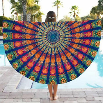 AWESOME Colorful Print Peacock Design Chiffon Blanket Scarf Tapestry Beach Throw