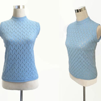 60's Sleeveless Mod Top - 1960's Vintage Shell Top - Blue Sleeveless Knit Top - Mod Retro Small