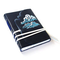 Blue Sky Leather Journal / Diary / Notebook - Hand Painted Dark Blue Leather Cover with Stylized Clouds and White Paper