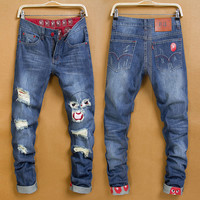 Winter Stylish Fashion Men Pants Men's Fashion Korean Weathered Jeans [6528535683]