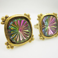 Vintage Cufflinks Watermelon Glass Stones Colorful Cuff Links Mens Jewelry Gifts for Men