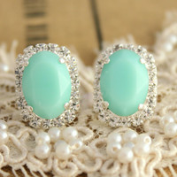 Mint green Crystal big oval stud earring - silver plated gold post earrings real swarovski rhinestones .