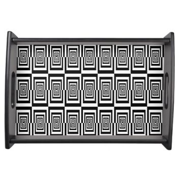 Black and White Geometrical Rectangles Design Serving Platters