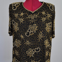 VINTAGE Pure Silk - Beaded Embellished Top 1920's GATSBY Style Sheer Blouse Black and Gold Womens Fancy