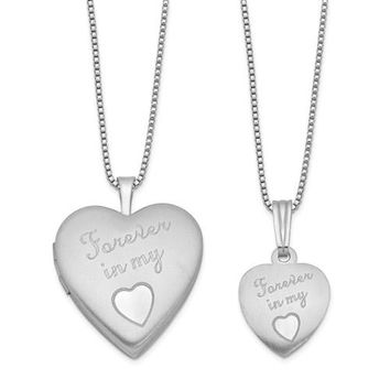 Sterling Silver 'Forever In My Hear' Mother & Daughter Locket Set