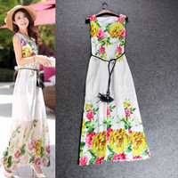 Solid White Sleeveless Floral Swing Maxi Dress