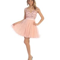 Blush & Nude Floral Lace Short Tulle Dress 2015 Homecoming Dresses