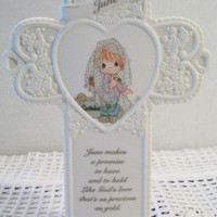 Precious Moments June Wedding Cross 1995 Pearlized Heart Collectible