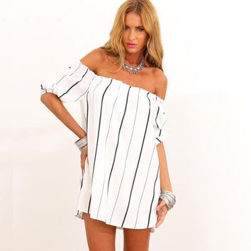 'The Amelia' White Off Shoulder Vertical Striped Mini Dress
