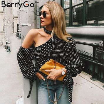 BerryGo One shoulder polka dot blouse shirt Retro ruffle lantern sleeve chiffon blouse Sexy summer bow women blouses 2018
