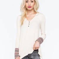 Others Follow Medley Knit Womens Top Cream  In Sizes