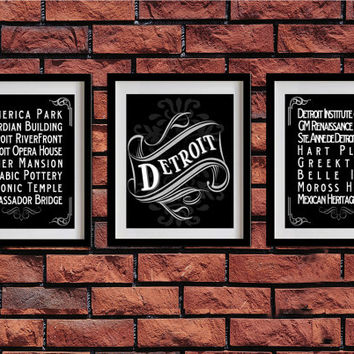 Detroit, Michigan, Typography Art Poster - Vintage Map Typography, Chalk Art - Detroit's Attractions Wall Art Decoration - 009-S3