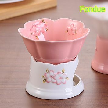 Embossed Sakura ceramic chocolate fondue set porcelain cheese fruit melting pots salad bowl and candle holder free shipping