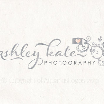 Photography logo - design using a camera, floral camera logo, photography watermark. Vector and watermark files included.