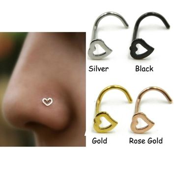 Stainless steel love heart multicolor nose Rings nose Hooks Body piercing Faux nose piercing body jewelry #247813