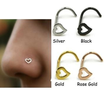 Chichi Stainless Steel Love Heart Multicolor Nose Rings Hooks Body Piecing For Women by Ritzy