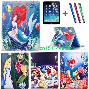 2016 Hot Sales Mermaid and Alice child Cartoon fashion PU Leather cover for ipad 2 3 4 5 6 ipad mini 1 2 3 4 ipad air/air 2 case