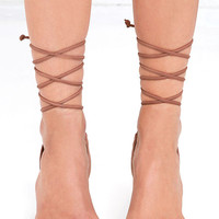 Steve Madden Natlia Taupe Nubuck Leather Lace-Up Heels