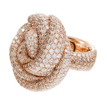 Italian Palmiero Diamond Rose Gold Knot Ring