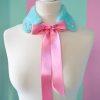 Cute fur colour with satin ribbon different styles available