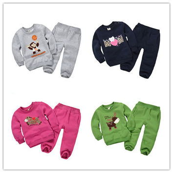 1-5Y 2015 new autumn Baby clothing sets boys cartoon sweater pants fleece toddler little girl clothes clothing fleece DF1002