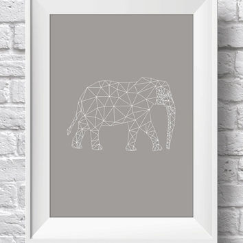 Geometric Elephant Print Wall Art | Minimalist Poster | Printable Art Printable scalable to ALL SIZES
