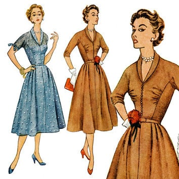 1950s Dress Pattern Bust 38 Uncut Simplicity 4300 Fit and Flare Day Evening Dress Shirred Bodice Shawl Collar Womens Vintage Sewing Patterns